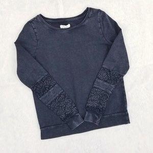 Lucky Brand Black Acid Wash Crochet Sleeve Sweater